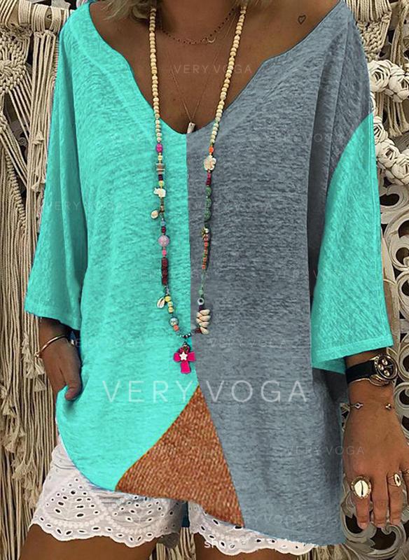 Kleurblok V-hals 3/4 Mouwen Casual Overhemd