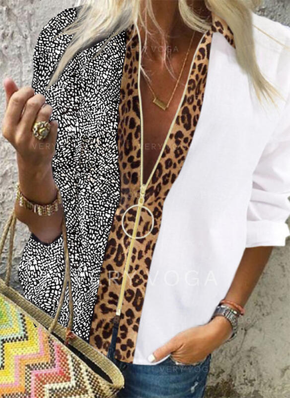 Stampa leopardo Scollatura a V Maniche lunghe Casuale Shirt and Blouses