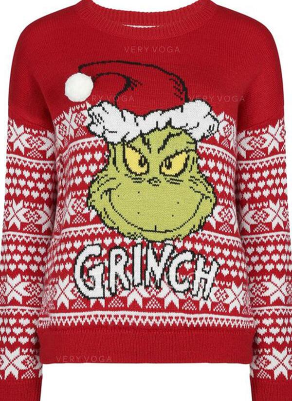 Uniseks Polyester Print Letter Spotprent Lelijke kerstsweater