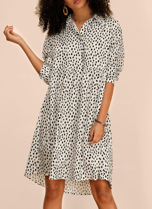 PolkaDot Long Sleeves Shift Knee Length Casual Dresses