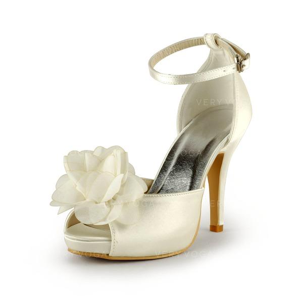 acc8e15a Satyna Obcas Stożkowy Z Odkrytym Palcem Buty na Platformie Sandały Buty  Ślubne Z Kwiat
