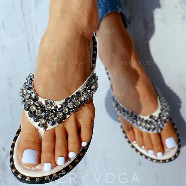 Kvinnor PU Flat Heel Sandaler Peep Toe med Paljetter skor
