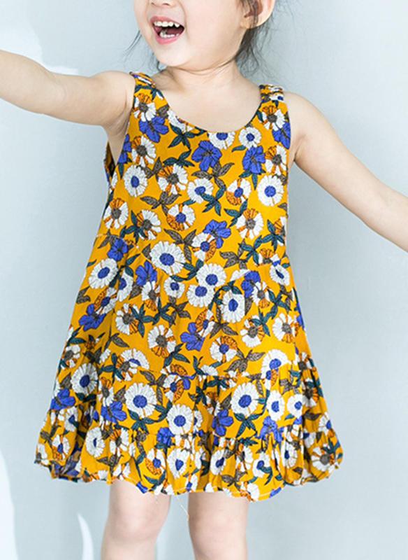 7364941c719 Κορίτσια Στρογγυλός λαιμός Ανθινος Τυπώνω Ανέμελος Χαριτωμένος Φόρεμα