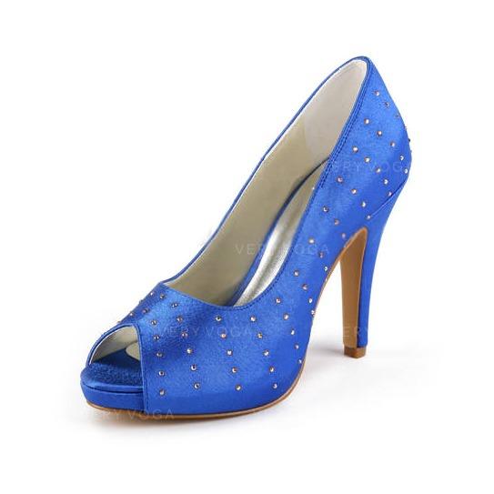 c13c0fb3 Satyna Obcas Stożkowy Z Odkrytym Palcem Buty na Platformie Sandały Buty  Ślubne Z Kryształ Górski
