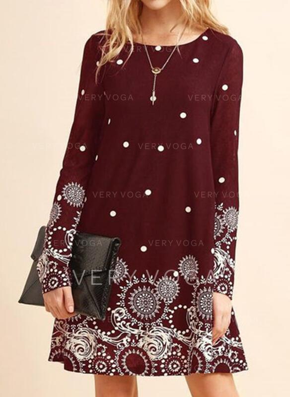 Print/PolkaDot Long Sleeves Shift Above Knee Casual Tunic Dresses