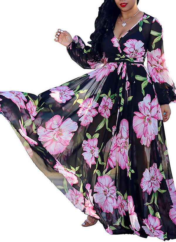 Print Long Sleeves A-line Maxi Vintage/Casual/Boho/Vacation Dresses