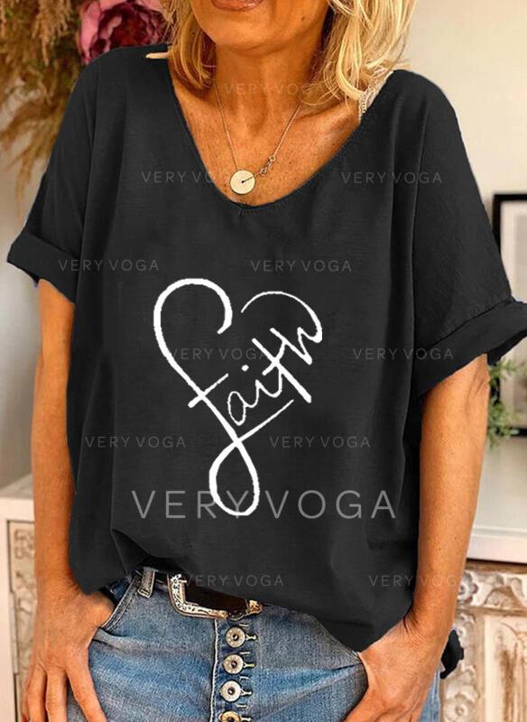 Coração Estampado Carta Gola Redonda Manga Curta Camisetas