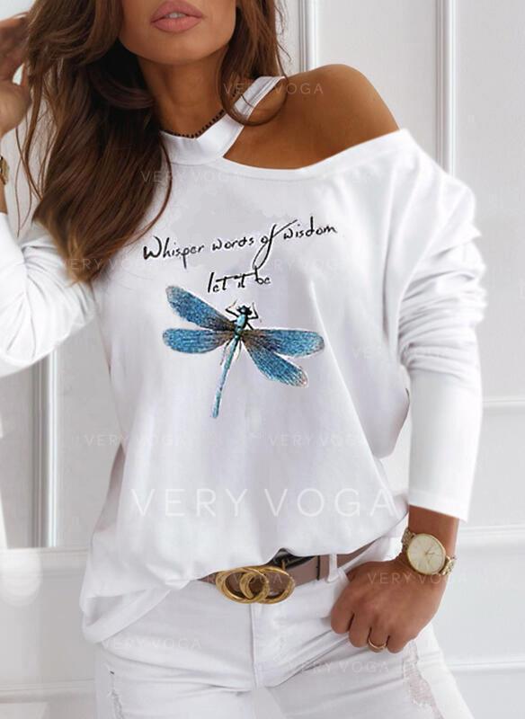 Stampato Animale Figura Una spalla Maniche lunghe Casuale Camicie