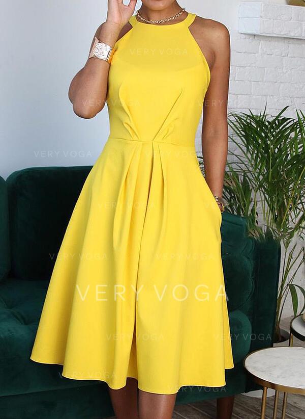 Sólido Sem mangas Evasê Casual/Elegante Midi Vestidos