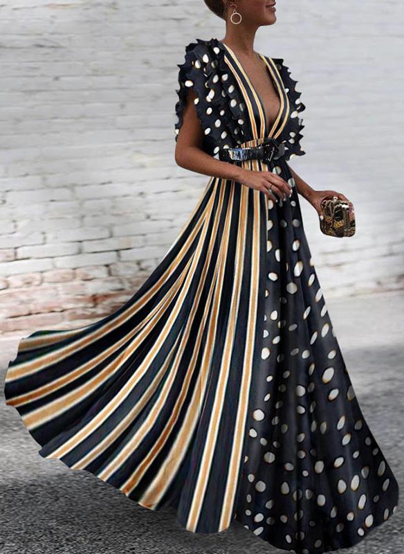 55e9ba8e4c0d Πουά Ριγέ V-λαιμός Μάξι φόρεμα A-line φόρεμα (199234842) - φορέματα ...