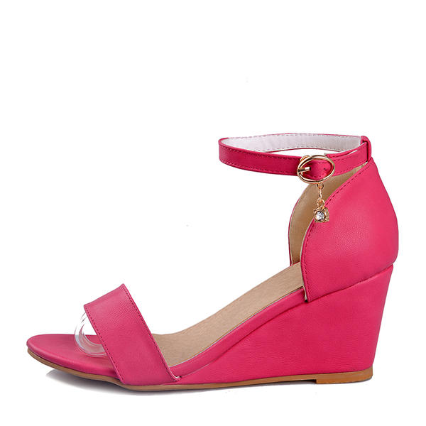Women's Leatherette Wedge Heel Pumps Wedges With Buckle shoes
