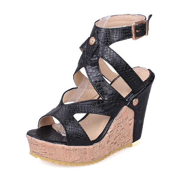 Women's PU Wedge Heel Wedges With Buckle shoes