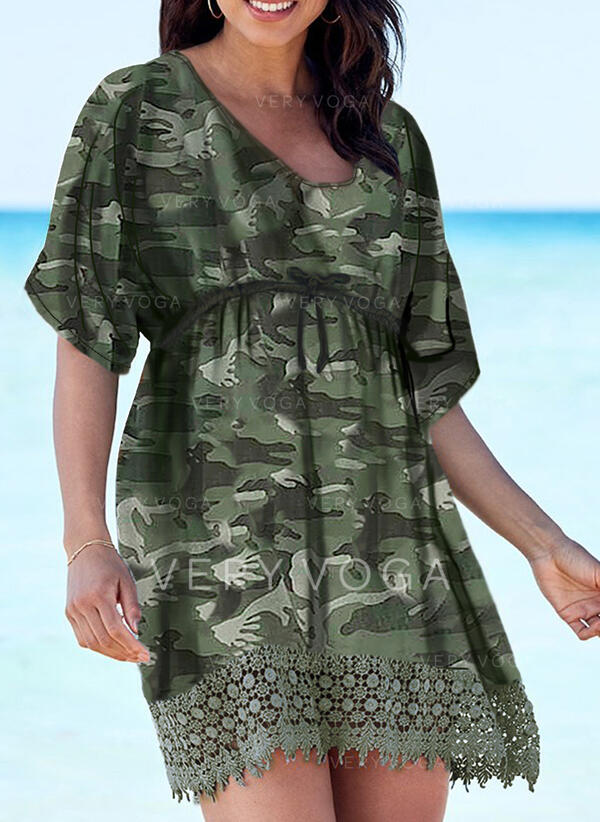 Lace/Print 1/2 Sleeves A-line Above Knee Casual/Vacation Skater Dresses