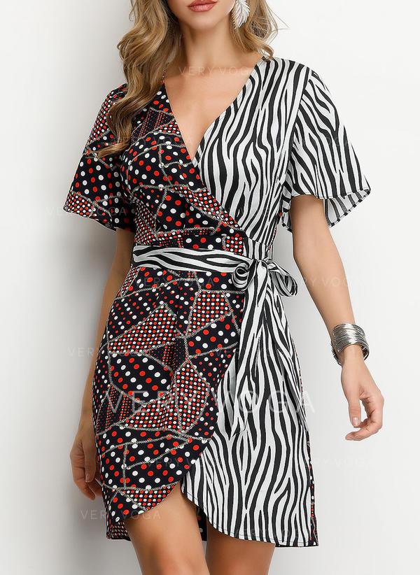 Print/PolkaDot/Patchwork Short Sleeves A-line Above Knee Casual/Elegant Dresses