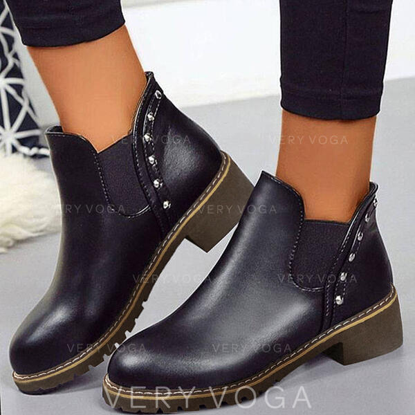 Pentru Femei PU Toc gros Botine Cizme Chelsea cu Culoare solida pantofi