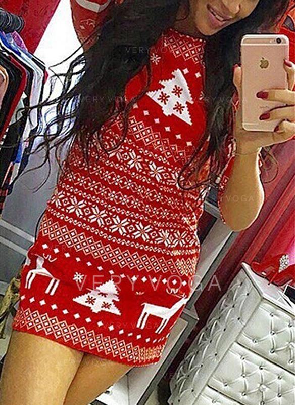 Tisk Dlouhé rukávy Přiléhavé Nad kolena Vánoce Šaty