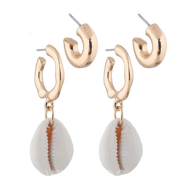 Stilvoll Einfache Schale Legierung Frauen Ohrringe (4 Stück)