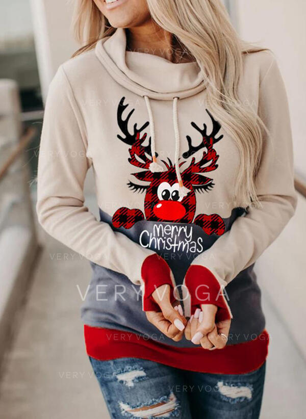 Animal Print Grid Figure Long Sleeves Christmas Sweatshirt