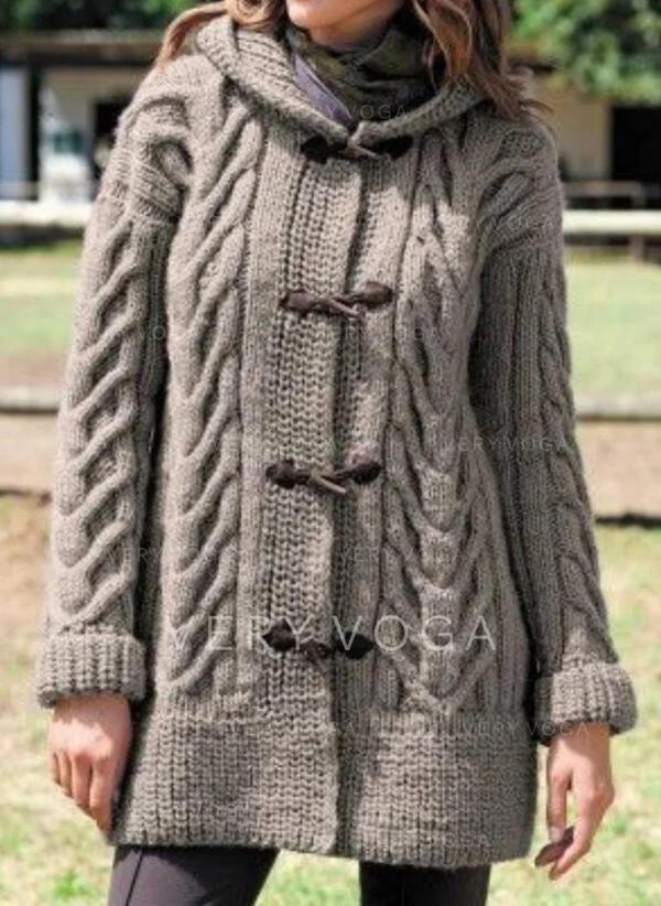 Solido Cavo Knit Cappuccio Casual Lungo Cardigan