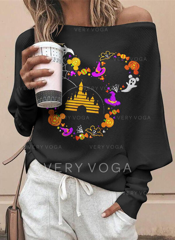 Print Off the Shoulder Long Sleeves Casual Halloween Blouses