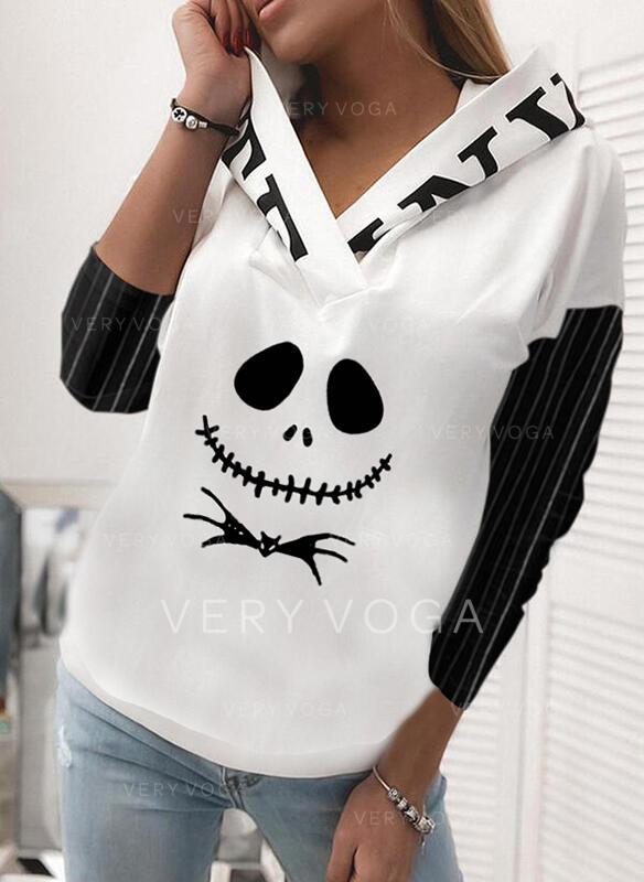 Color Block Animal Print Halloween Long Sleeves Hoodie