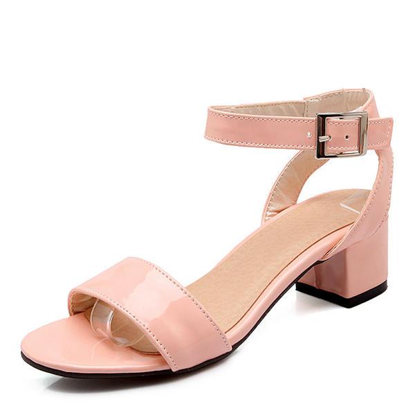 Femmes Cuir verni Talon bottier Sandales Escarpins À bout ouvert avec Boucle chaussures