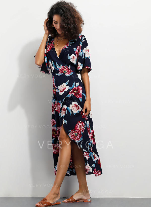 Print/Floral 1/2 Sleeves/Flare Sleeves A-line Asymmetrical Casual/Vacation Dresses
