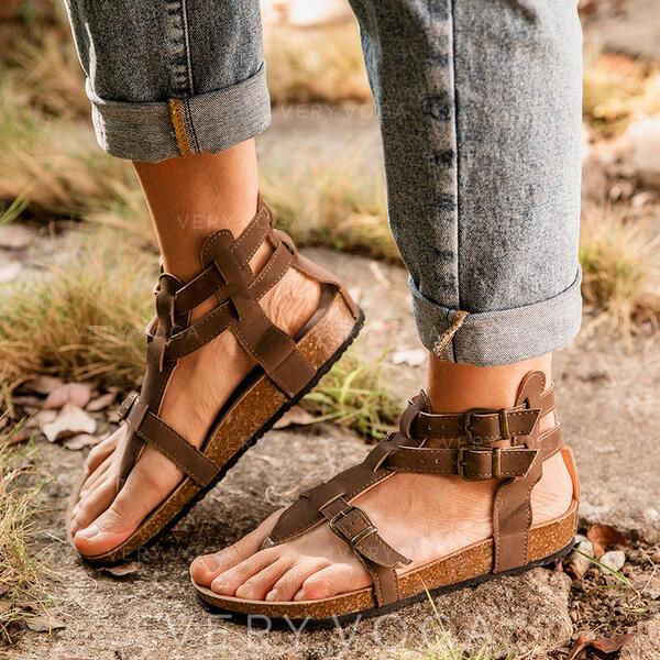 Women's PU Flat Heel Sandals Peep Toe With Buckle shoes