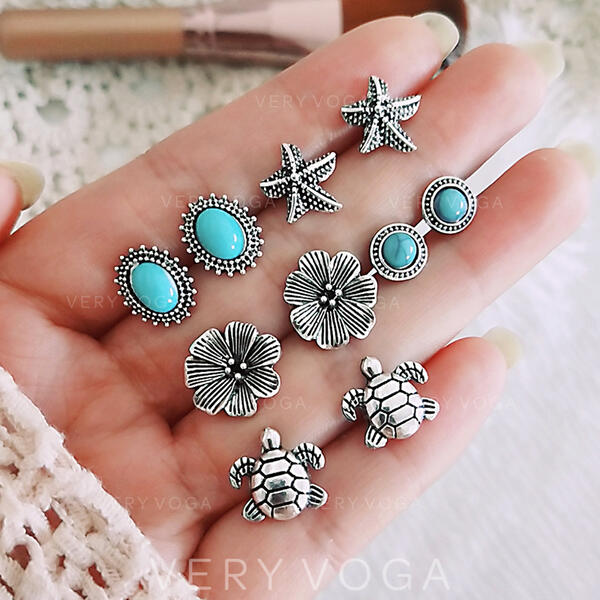 Boho Alloy Earrings (Set of 5)