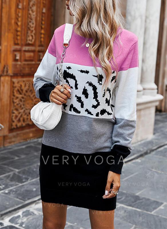 Color block Leopard Rund hals Casual Lang Sweaterkjole