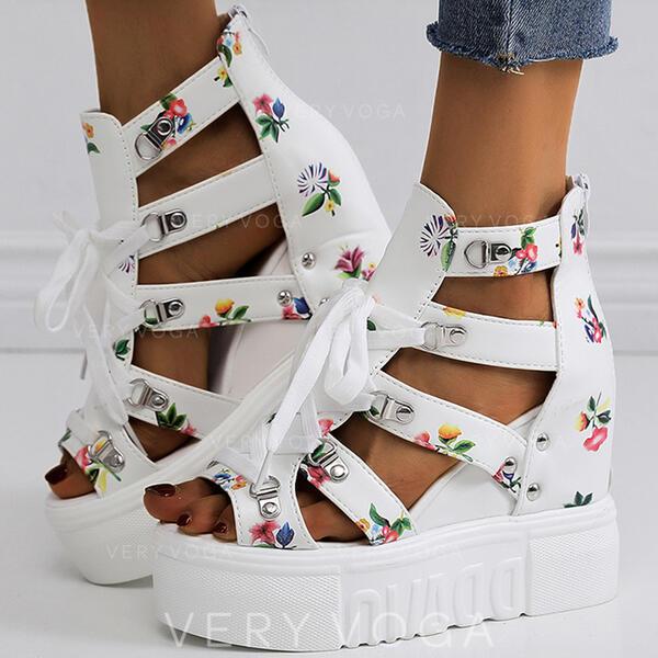 De mujer PU Tipo de tacón Sandalias Plataforma Cuñas Encaje Tacones con Hebilla Flor Cruzado zapatos