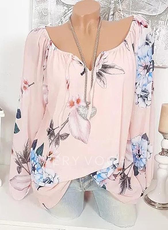 Распечатать Цветочный V шеи Длинные рукова Повседневная элегантный Блузы