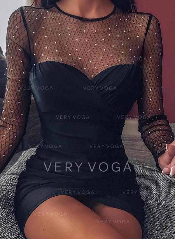 Couleur Unie/Perlée Manches Longues Moulante Au-dessus Du Genou Petites Robes Noires/Sexy/Fête Robes