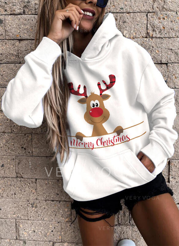 Animal Print Figure Pockets Long Sleeves Christmas Sweatshirt