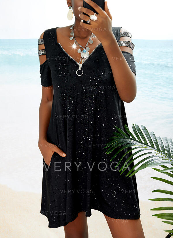 Paillettes/Couleur Unie Manches Courtes Droite Au-dessus Du Genou Petites Robes Noires/Décontractée Tunique Robes