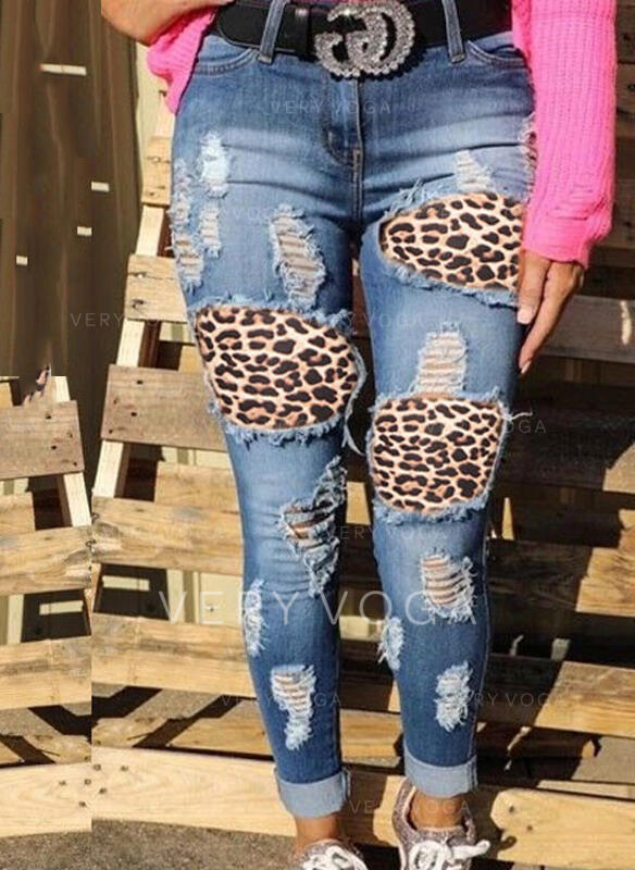 Patchwork Ripped Leopard Lang Sexet tribal Denim & Jeans