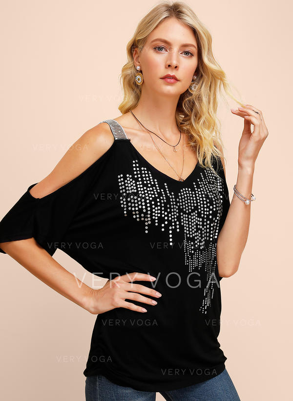 Sequins Cold Shoulder 1/2 Sleeves Casual Sexy Blouses