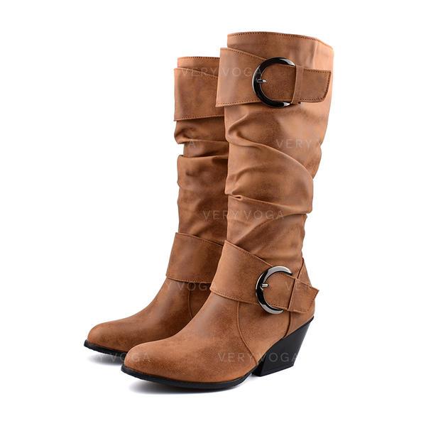Femmes Similicuir Talon bottier Bottes hautes avec Boucle chaussures