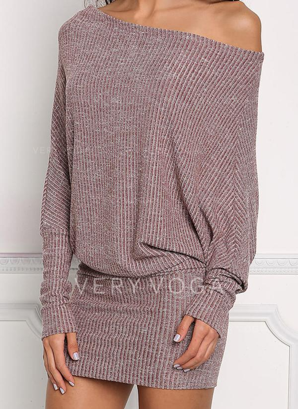 Solid Long Sleeves/Batwing Sleeves Bodycon Above Knee Casual Dresses