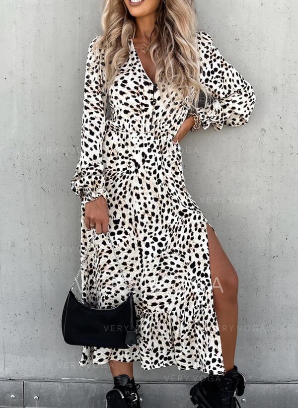 leopard Dlouhé rukávy Puff Sleeve Trapez Patinator Casual Midi Rochii