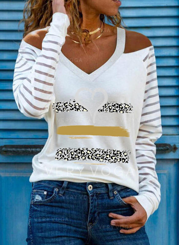 Drucken Leopard Herz Kalte Schulter Lange Ärmel Freizeit Blusen