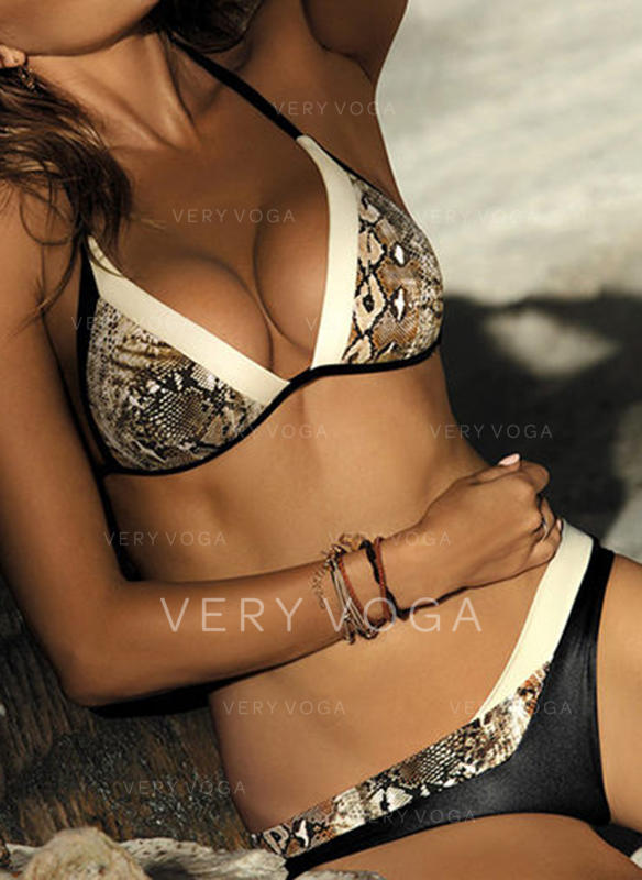 Leopard Low Waist Splice color Halter V-Neck Sexy Fresh Attractive Bikinis Swimsuits