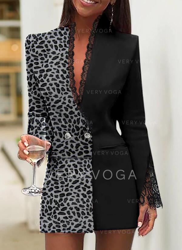 Pizzo/leopardo Maniche lunghe Aderente Sopra il ginocchio Elegante Abiti