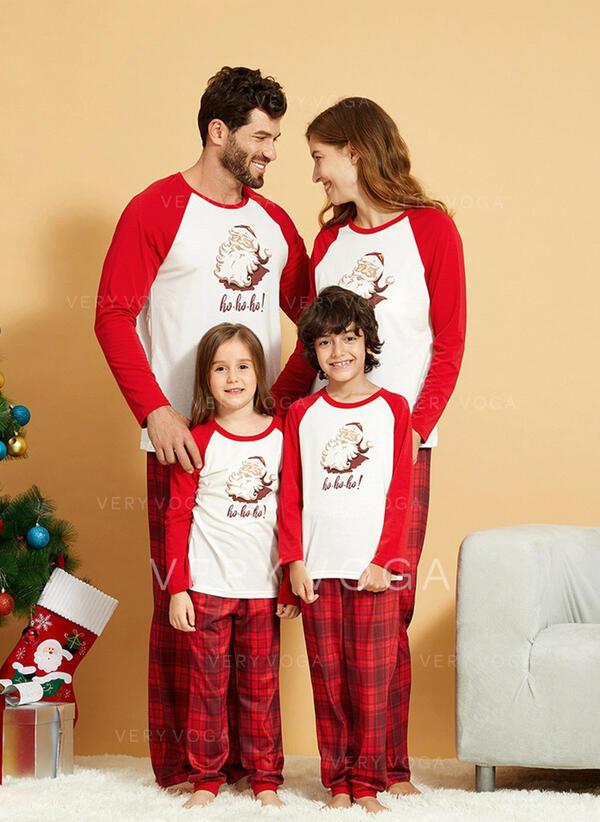 Santa Color-block Plaid Family Matching Christmas Pajamas