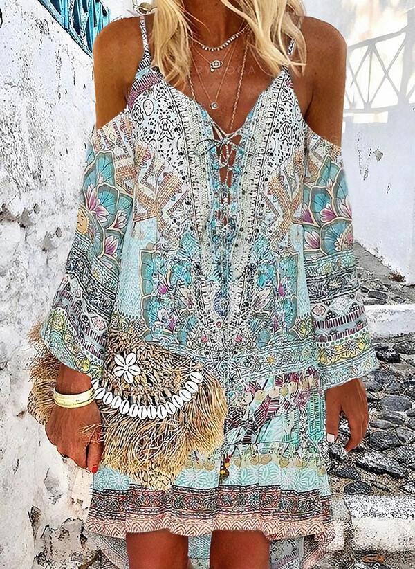 Imprimée/Fleurie Manches Longues/Épaule Froide Droite Au-dessus Du Genou Décontractée/Vacances Tunique Robes
