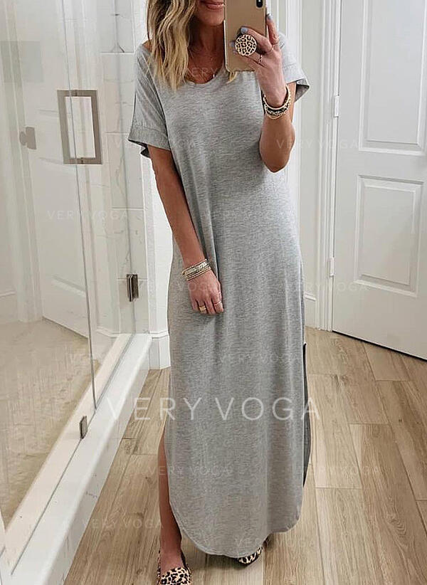 Solid Short Sleeves Shift T-shirt Casual Maxi Dresses