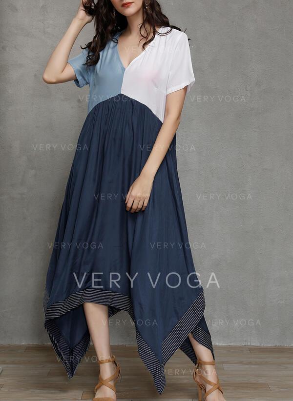 Color Block Short Sleeves Shift Casual Midi Dresses