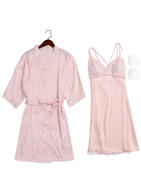 Poliéster Baby-doll Robe