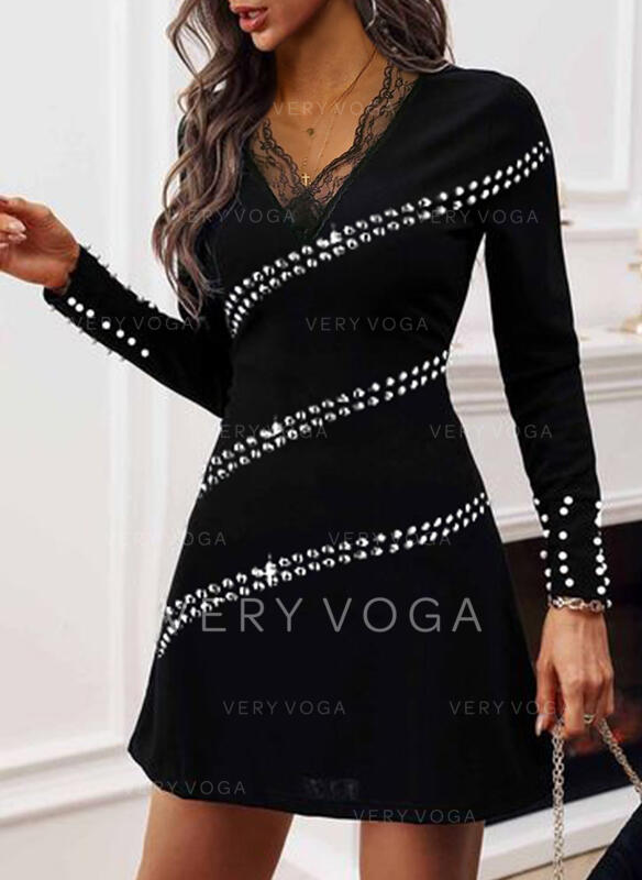 Lace/Sequins/Solid/Beaded Long Sleeves Sheath Above Knee Little Black/Elegant Dresses