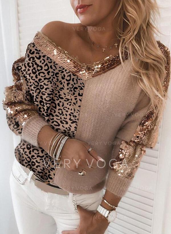 Färg block Leopard Paljetter V-ringning Casual Tröjor